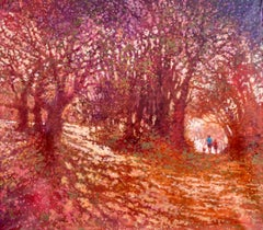 Walkin the Dog - contemporary impressionism red oil painting park trees