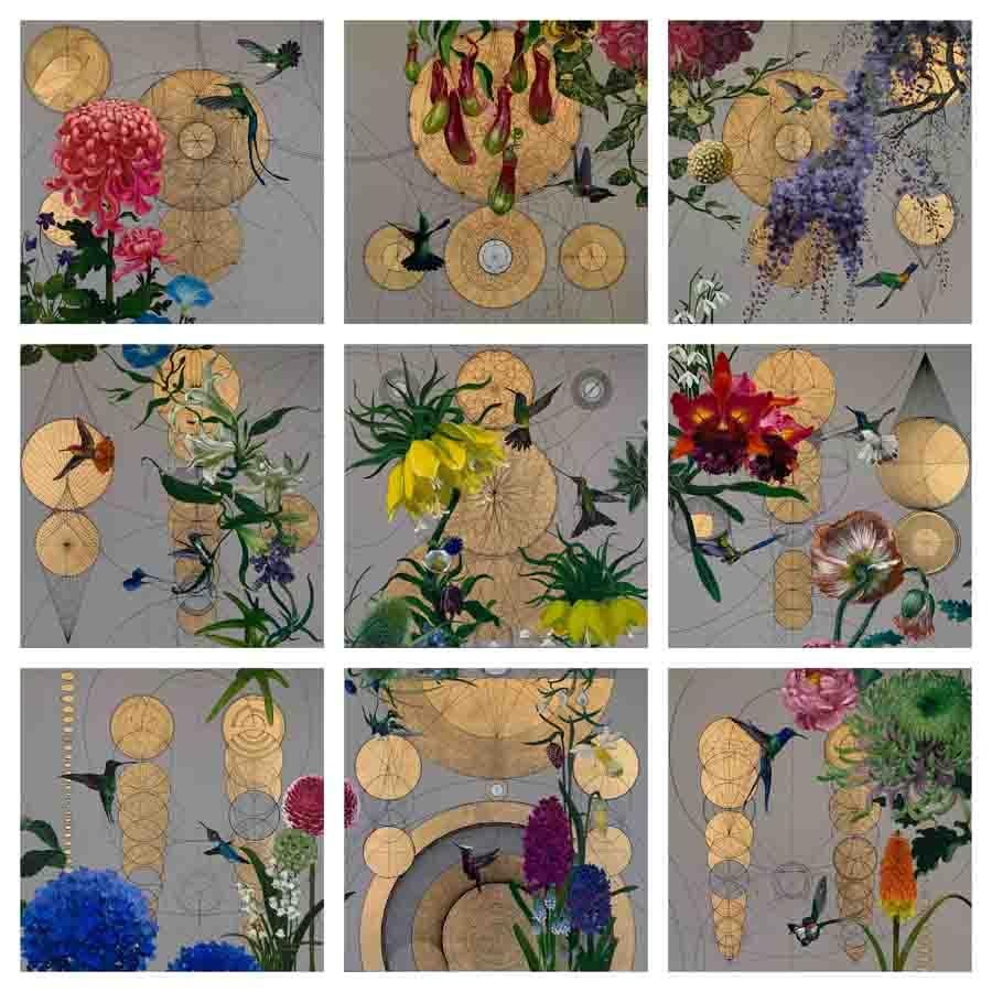 Inside n.9 -  collaborative geometric birds floral colourful mixed media artwork