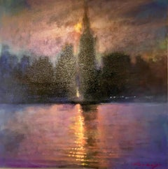 Summer Sunset - contemporary impressionism landscape London river colourful