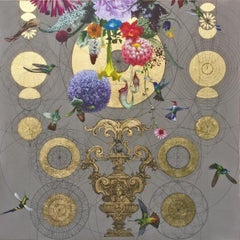 Midas Perception -contemporary decorative ornamental floral mixed media painting
