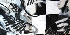 Opposing Forces -contemporary abstract black&white graffiti mixed media painting
