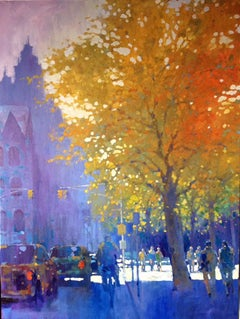 Fall on Central Park West I - contemporary impressionism New York cityscape