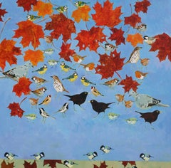 All the Other Birds in the Maple - nature acrylic painting
