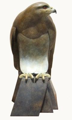 Female Buzzard - contemporary wildlife bird of prey bronze sculpture