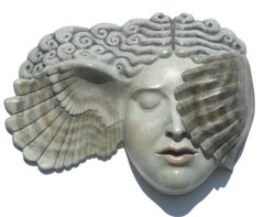 Hypnia (Sleep) - contemporary mythological ancient Greek face wall sculpture