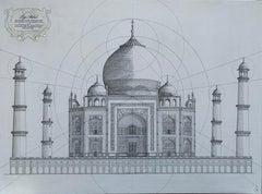 Taj Mahal - contemporary mixed media painting, architecture historic drawing