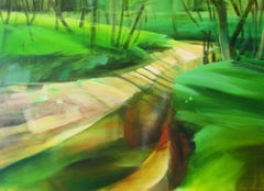 Under the trees III - contemporary acrylic landscape painting on canvas