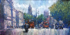 Whitehall by Day - contemporary impressionism London cityscape pianting traffic