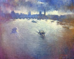 Last Light Over Westminster -impressionist blue London cityscape oil on canvas