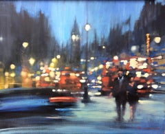 London Night -impressionist red and blue London cityscape oil on canvas