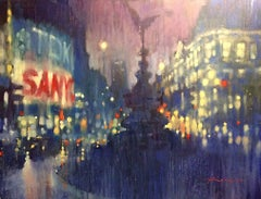 Evening Lights, Piccadilly Circus - impressionist blue London cityscape oil