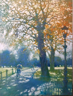 High Speed in Hyde Park - impressionist orange and green cityscape park oil