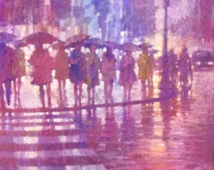 Waiting at Shaftesbury - contemporary pink rain cityscape oil on canvas