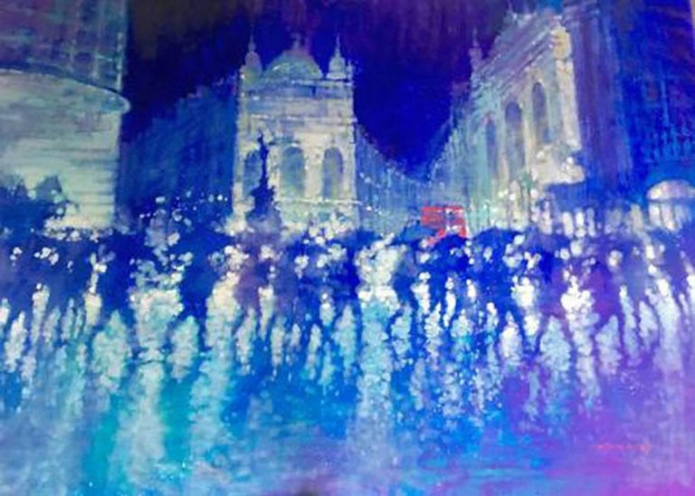 David Hinchliffe Still-Life Painting - Piccadilly Reflections - contemporary cityscape London blue oil on canvas