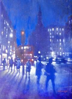 Strand Night - impressionist blue London night cityscape oil on canvas