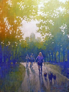 Working Out Central Park - impressionist New York cityscape park oil on canvas