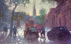 For King and Country - impressionist London cityscape oil on canvas