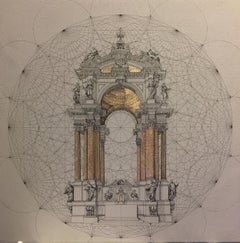 Cartesian Temple - contemporary drawing architecture ink gilding canvas