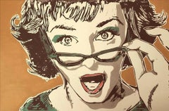 Oh My! - figurative woman face surprise glasses colourful print