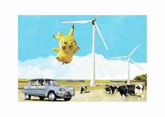 The Ruralist vs Pokemon - contemporary digital print pokemon ipad sketch framed