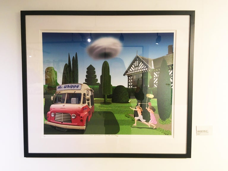 The Ruralist vs Mr.Whippy - contemporary digital print framed - Blue Figurative Print by Vincent Kelly