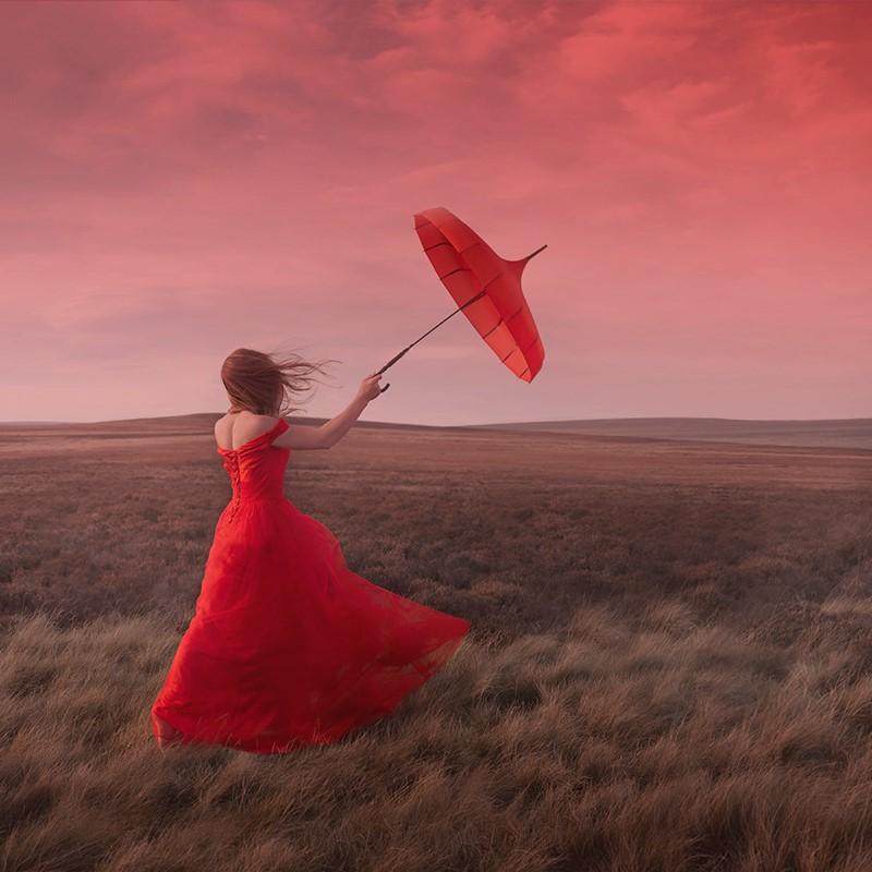 Captured by the Wind - contemporary photograph female figure red dress nature