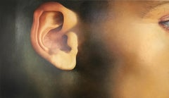 Closer - hyper-realistic close up side-look detail face ear oil canvas