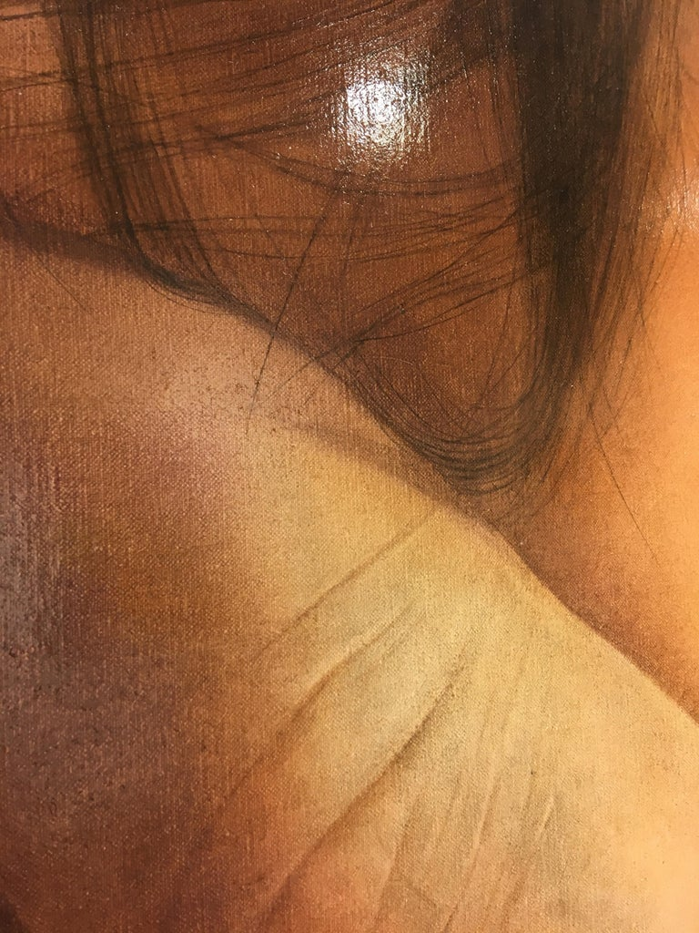 Touch - hyperrealistic close up face portrait hand nail polish skin oil painting - Contemporary Painting by Anne Moses