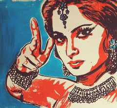 Bolly - figurative woman portrait pointing bollywood poster colourful print