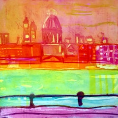 Summer on the Southbank - vibrant colour, fluid line etching print London
