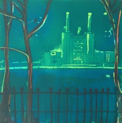 The River by Moonlight - vibrant color, fluid line etching Battersea station