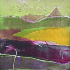 Misty Morning - vibrant colour, fluid line etching print landscape