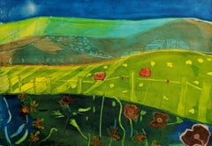 The Hills at Dusk - vibrant colour and fluid line print etching