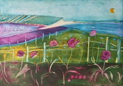 To the Sea - vibrant colour and fluid line etching landscape countryside