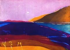 Fading Light - vibrant colour, fluid line etching purple landscape