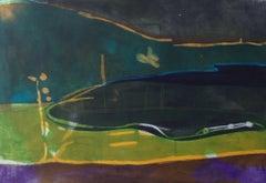 The Start of the Storm - vibrant colour, fluid line etching landscape