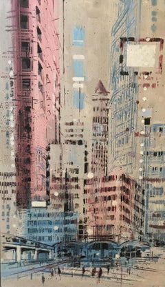 Tall City 2 - contemporary cityscape London city multicoloured oil painting