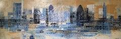 Blue Thames - panoramatic landscape cityscape London Thames buildings view blue