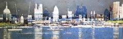 Thames 8 - contemporary London view cityscape expressive oil board