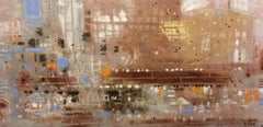 Aix Cafe - contemporary abstract cityscape cafe oil board
