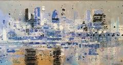Blue Lights - contemporary London cityscape landscape blue oil painting board