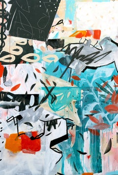 Into Nature - contemporary colourful abstract graffiti mixed media painting