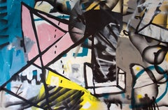 Cut Ups - contemporary colourful abstract graffiti mixed media painting