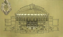 Royal Albert Hall - contemporary architecture detailed ink drawing on canvas