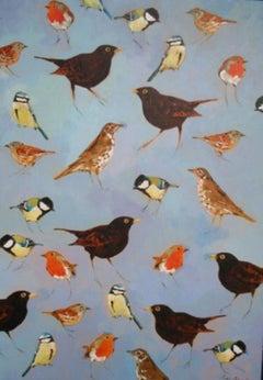 Garden Birds - nature acrylic painting