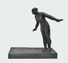 Dry Land - bronze and graphite resin contemporary sculpture female figure