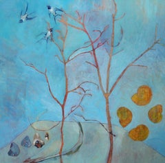 A Promise to Tread More Lightly - contemporary birds nature acrylic painting