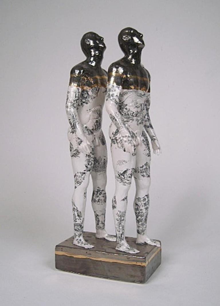 Two Pugilists Waiting for the Swifts - contemporary ceramic sculpture