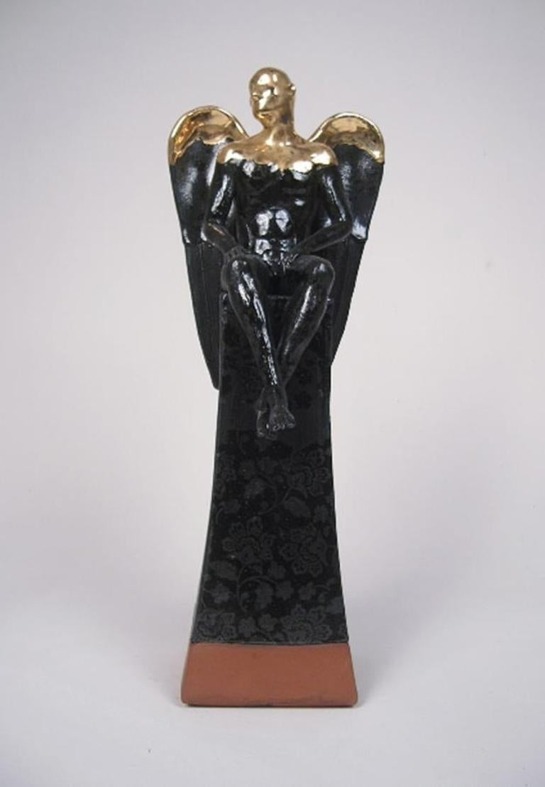 Seated Angel on Plinth - contemporary ceramic sculpture
