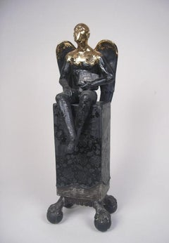 Seated Angel on Clawed Plinth - contemporary ceramic sculpture